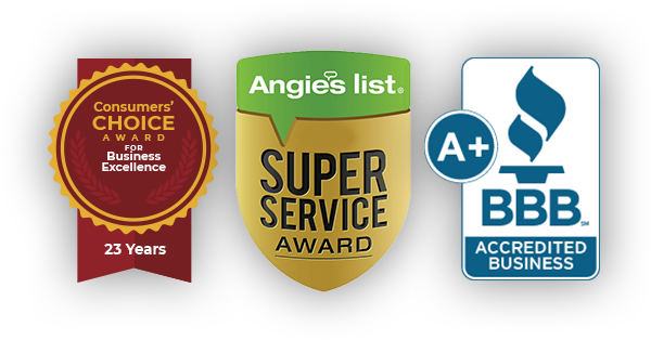 Consumers' Choice Award Winner, Angie's List Super Service Award, A+ Rating with the BBB