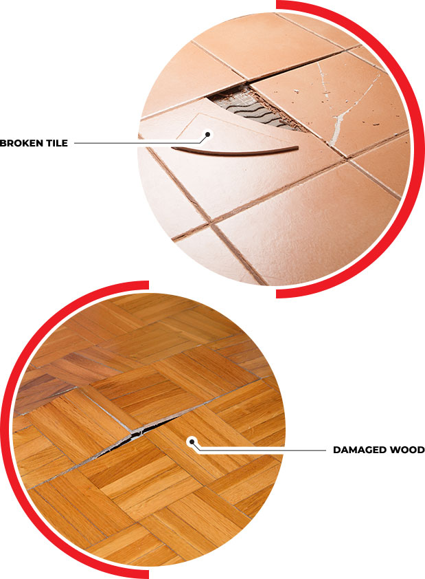 Broken Tile & Damaged Wood